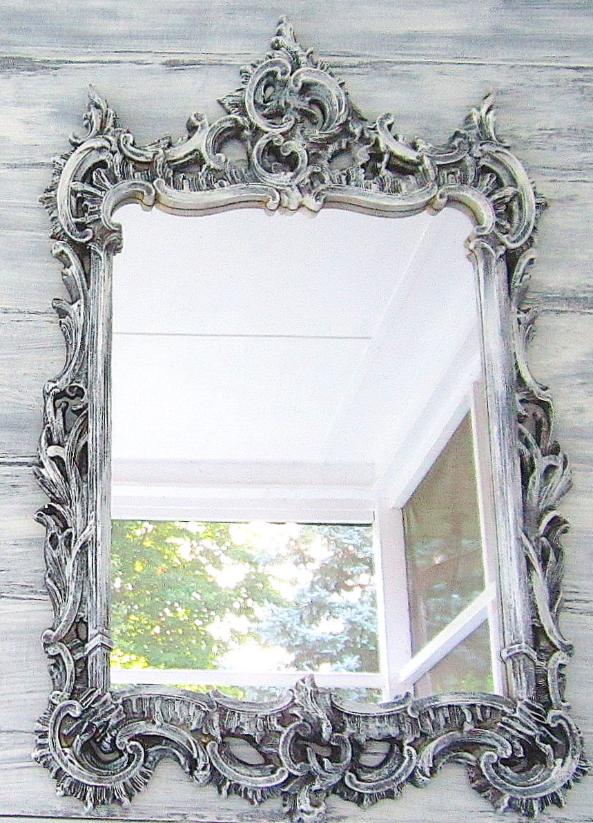 Black Ornate Bathroom Mirror