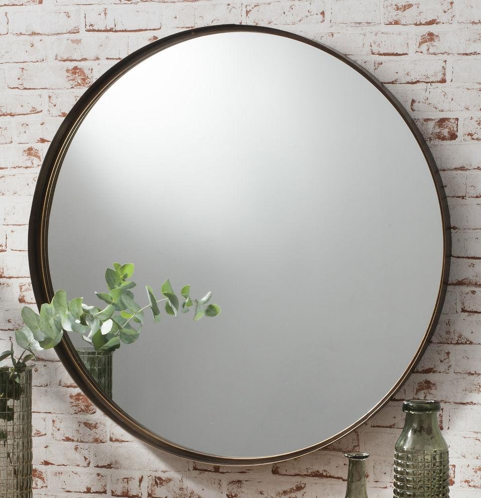 Black Round Metal Wall Mirror
