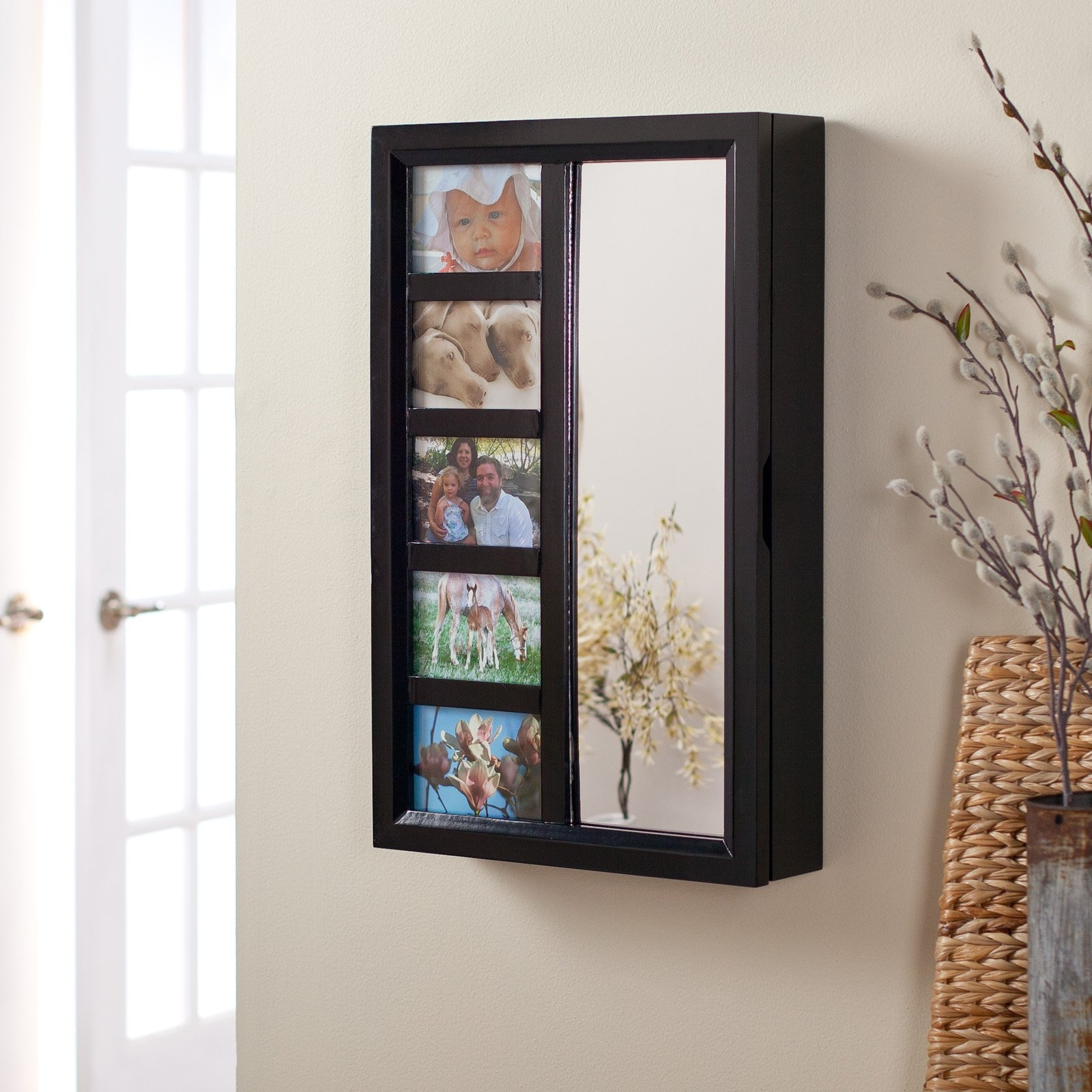 Black Wall Mounted Jewelry Armoire With Mirror