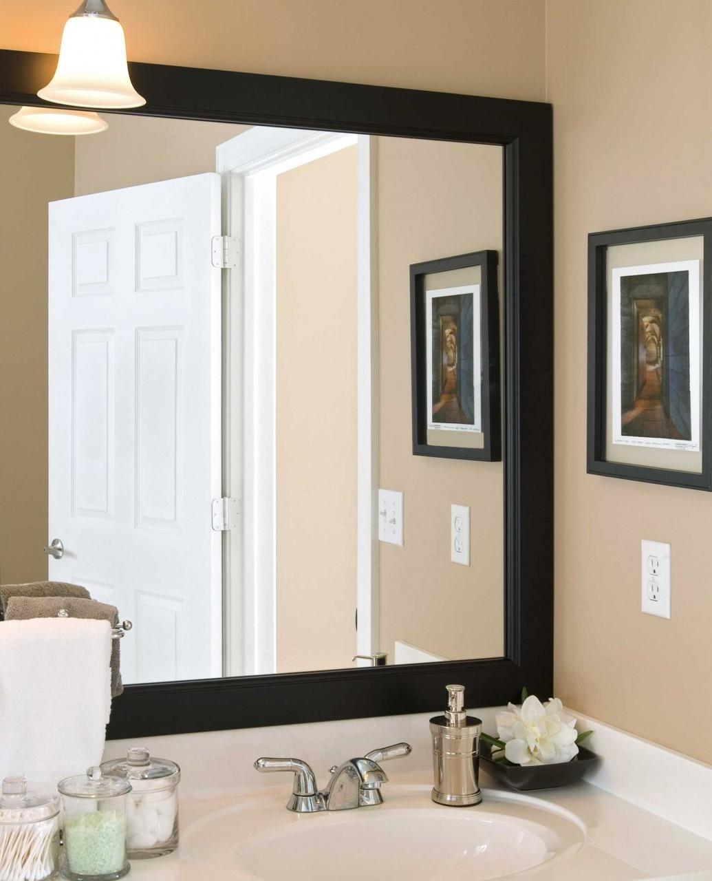 Black Wood Framed Wall Mirror