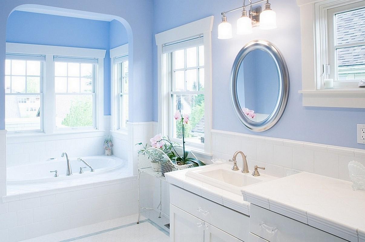 Blue And White Bathroom Mirror