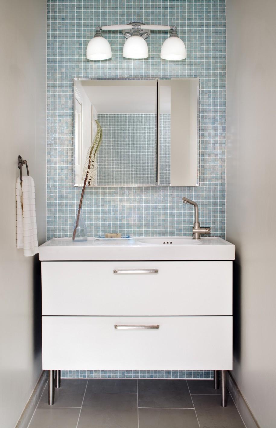 Blue Tile Bathroom Mirror