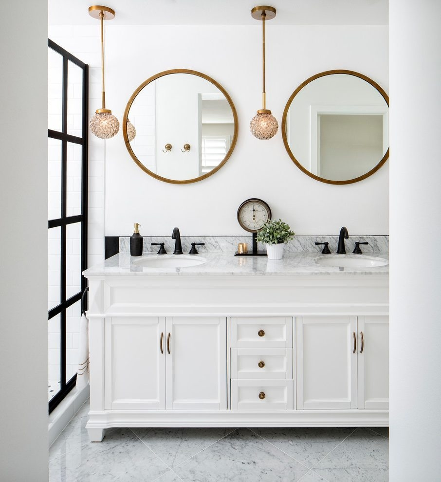 Brass Bathroom Mirror With Shelf