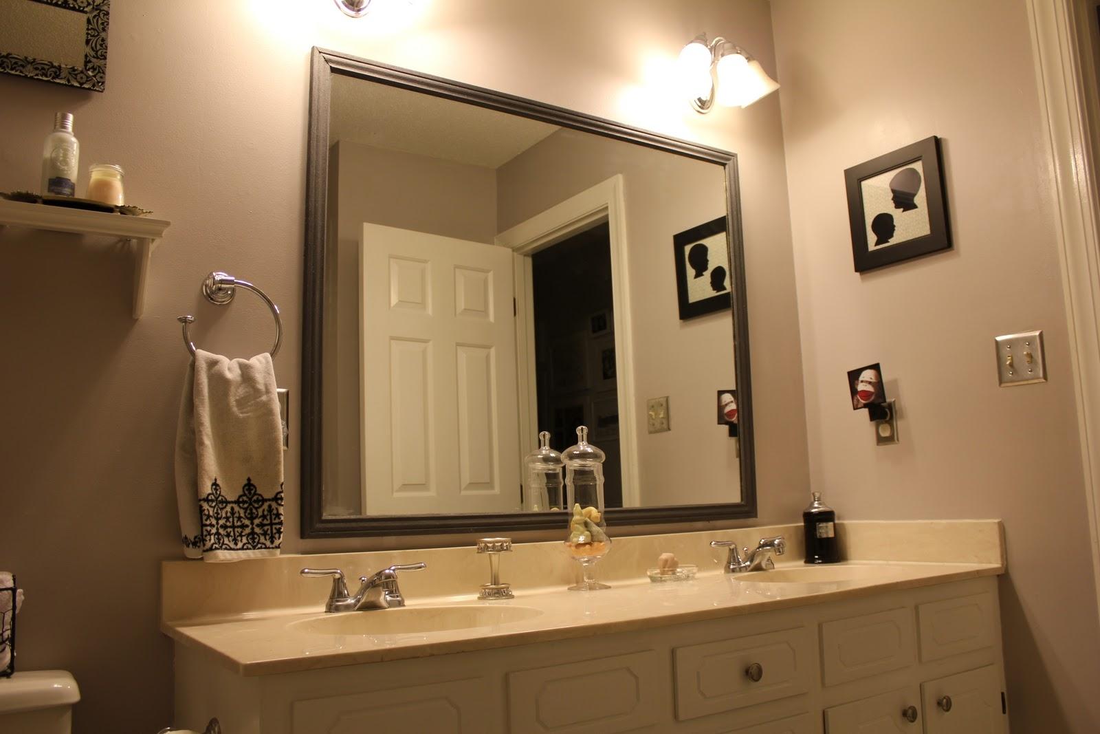 Brown Framed Bathroom Mirror