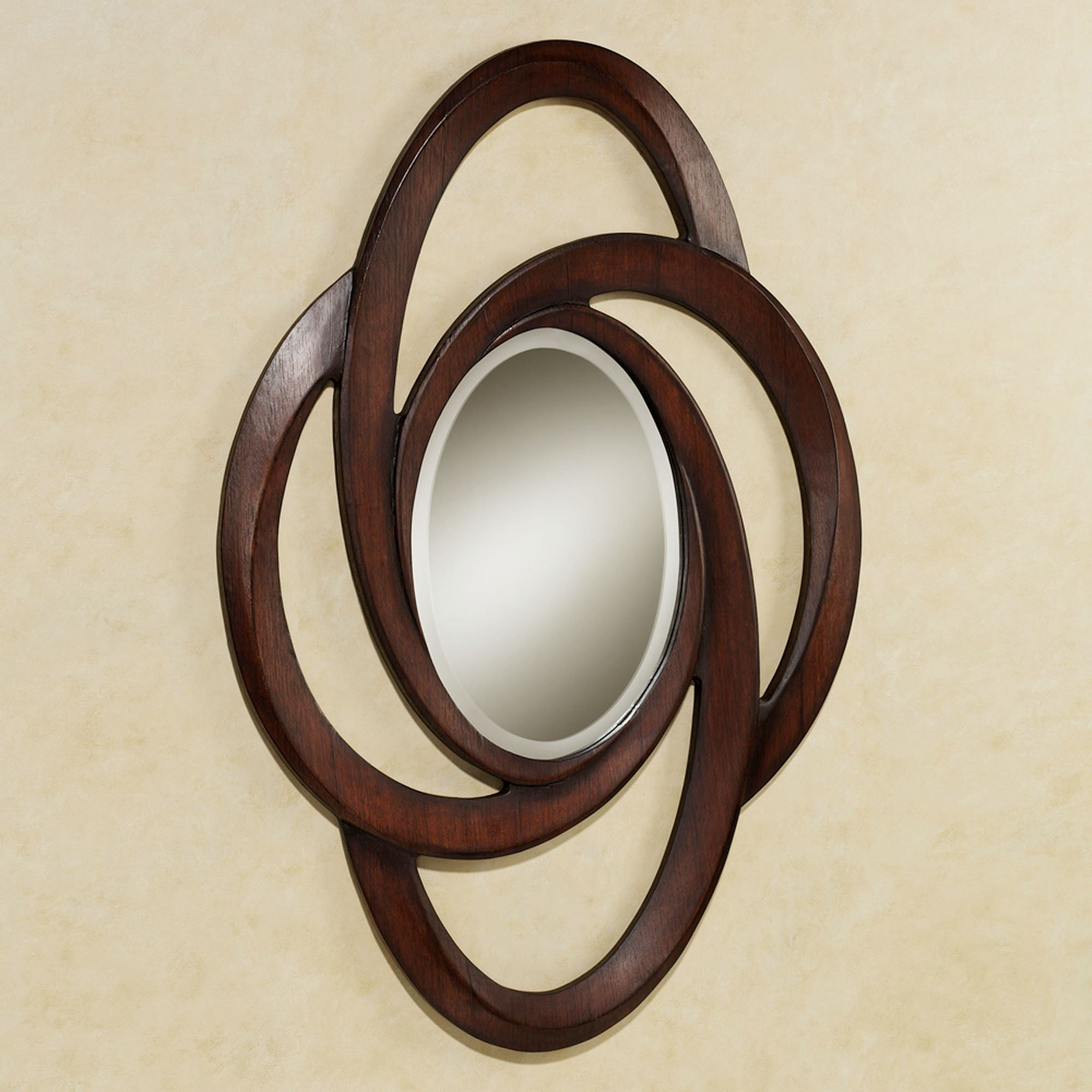 Brown Oval Wall Mirror