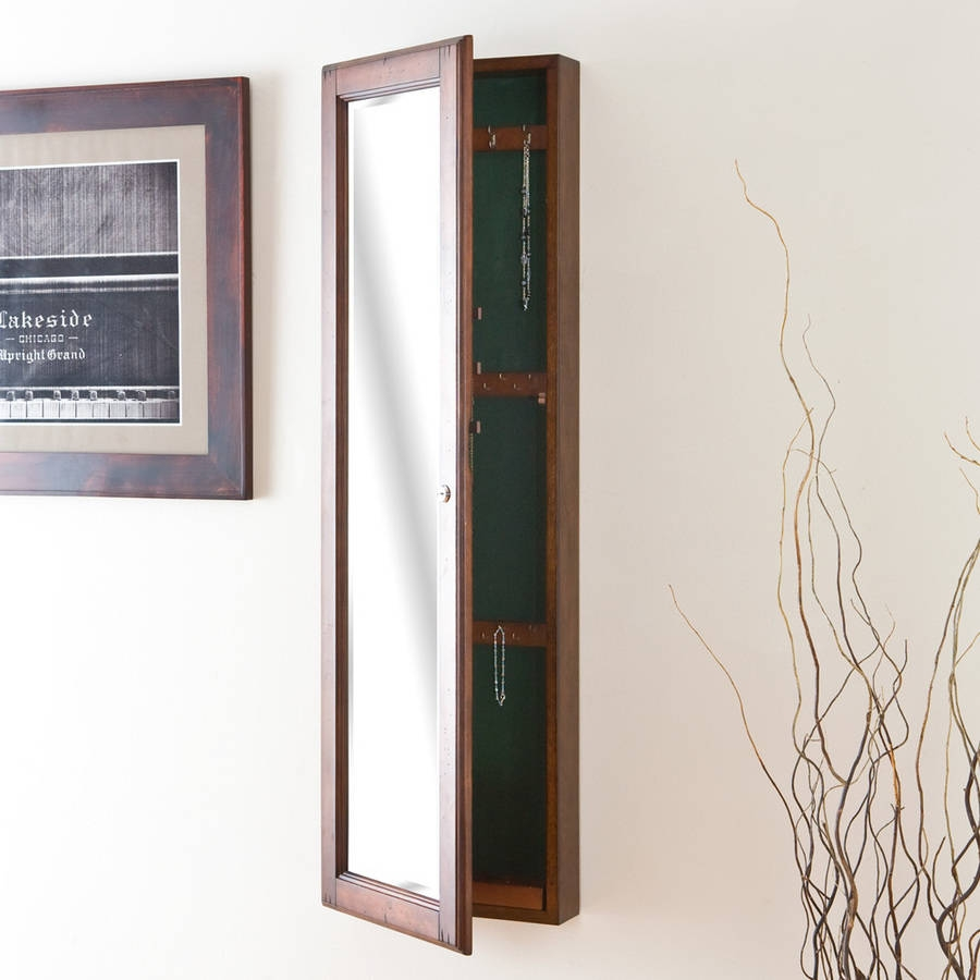 Brown Wall Mirror Jewelry Cabinet