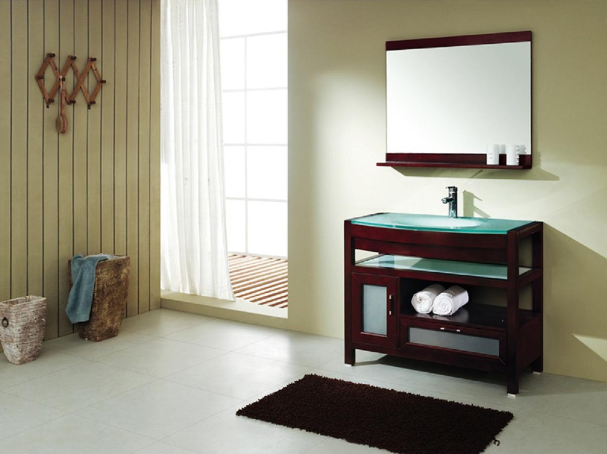 Brown Wall Mirror With Shelf