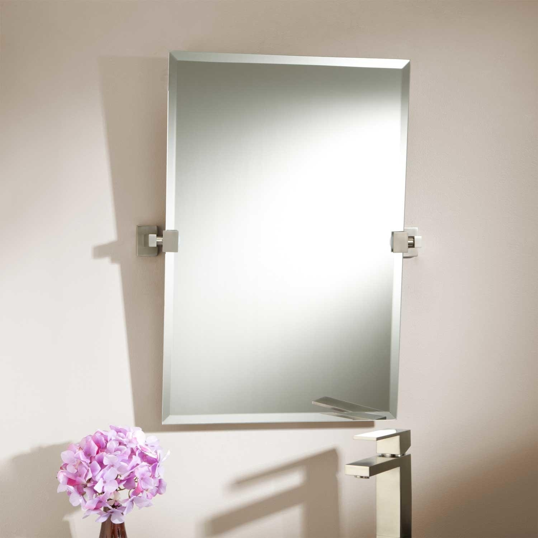 Brushed Nickel Bathroom Mirror With Shelf
