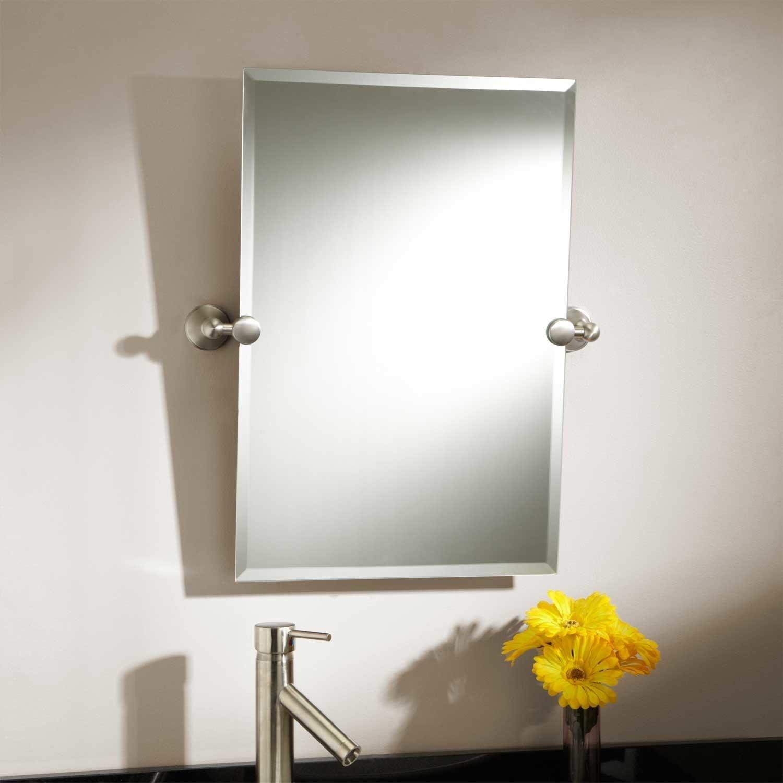 Brushed Nickel Tilt Bathroom Mirror