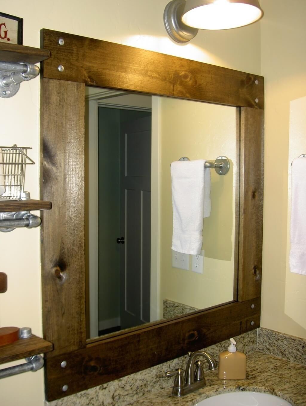Cherry Wood Framed Bathroom Mirrors