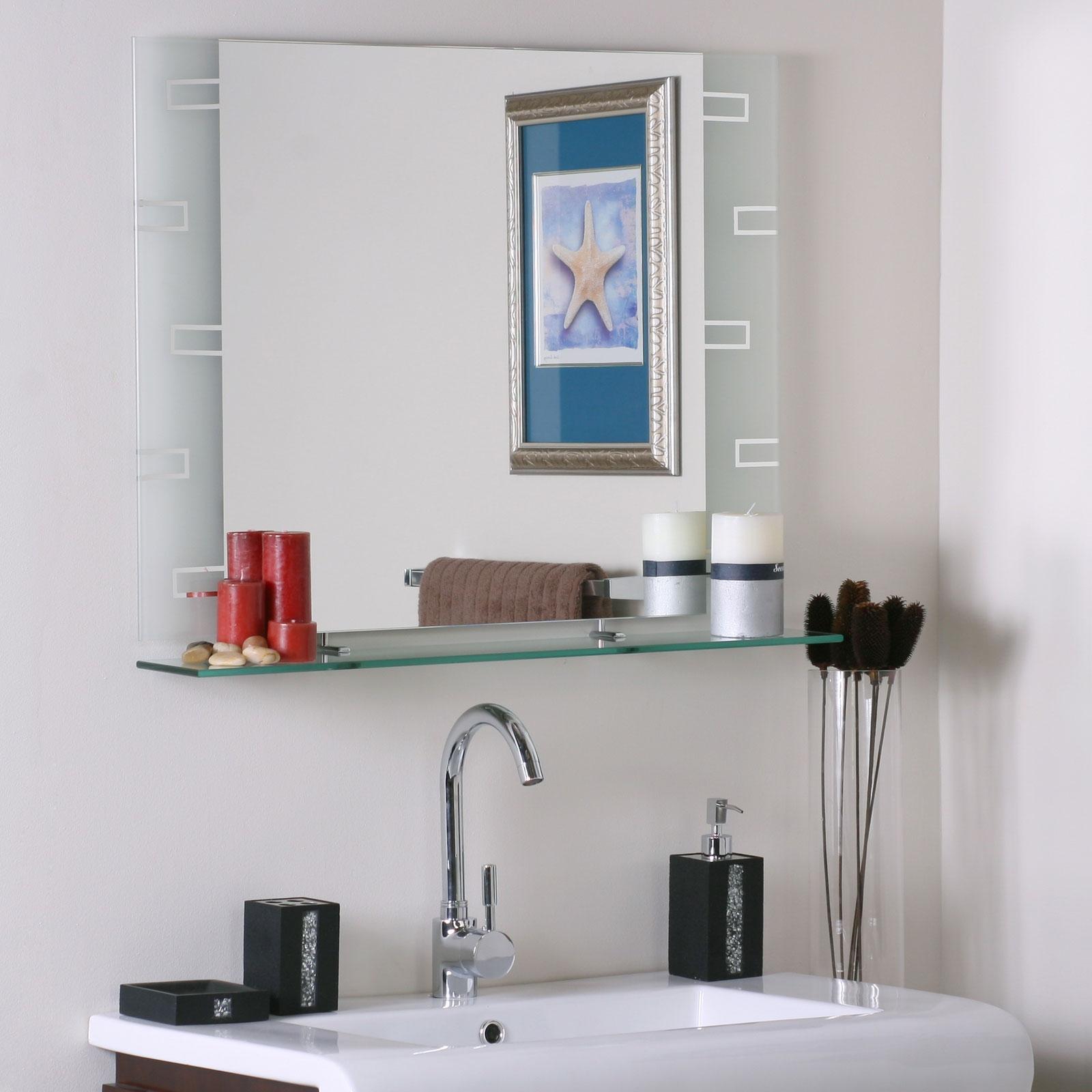 Contemporary Bathroom Mirror With Glass Shelf