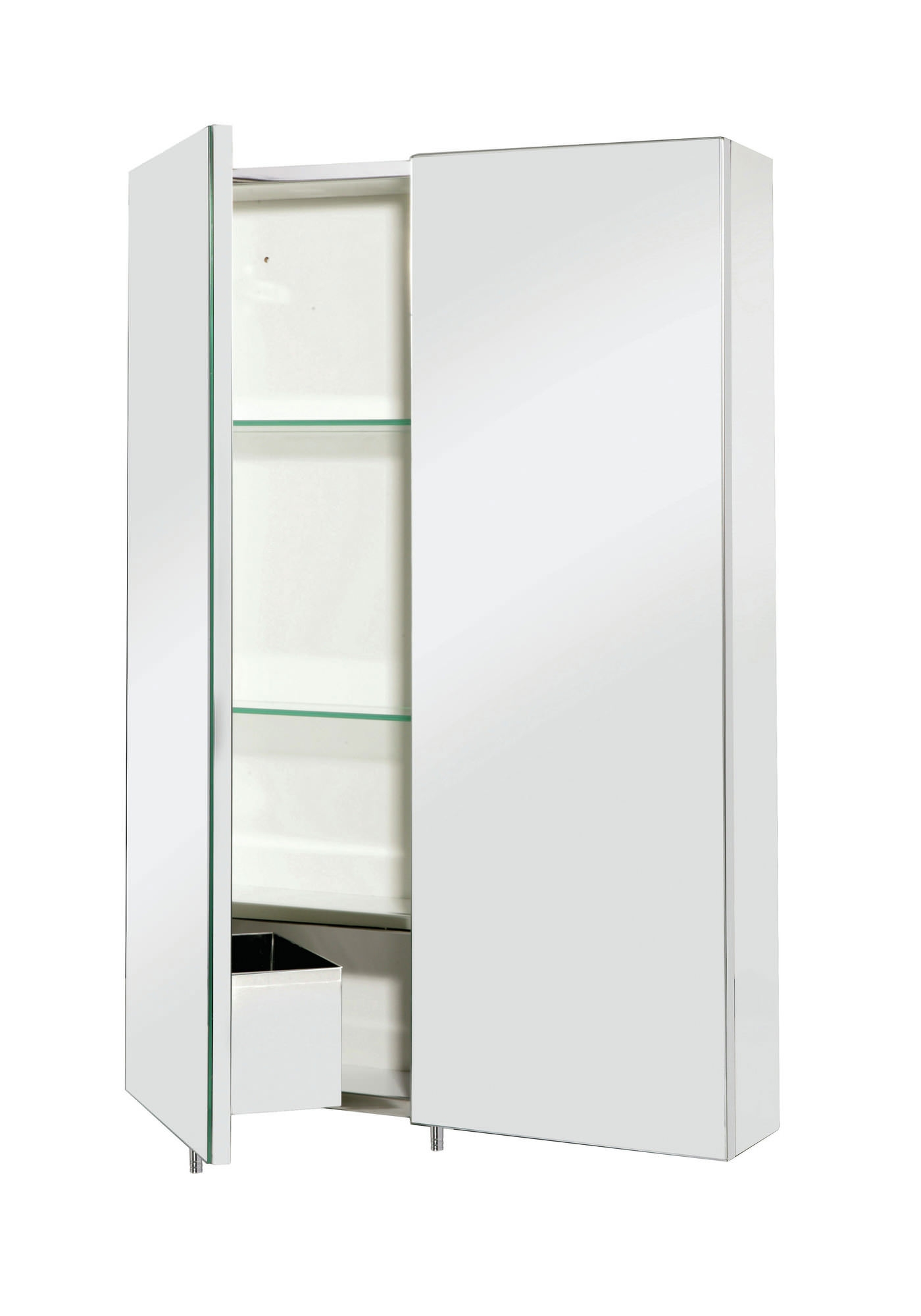 Croydex Anton Double Door Stainless Steel Mirrored Bathroom Cabinet