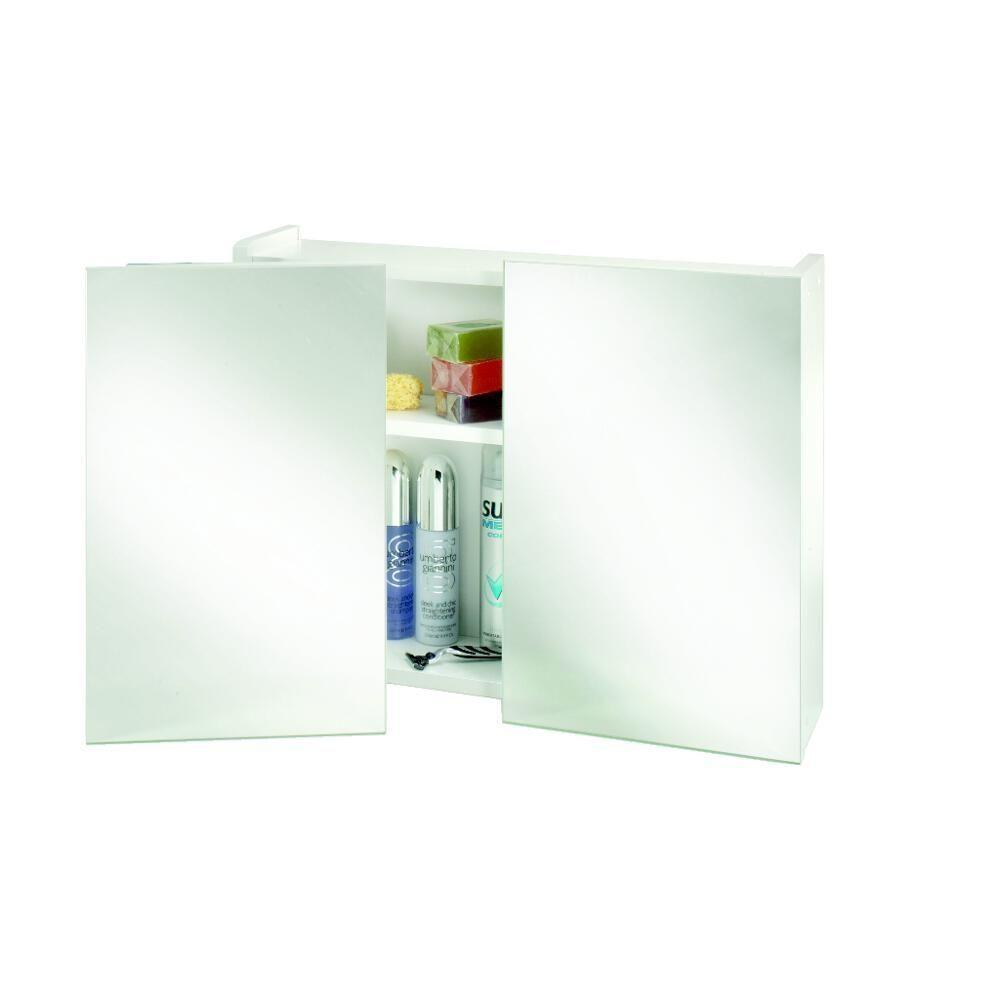 Croydex Double Swivel Door Mirrored White Bathroom Cabinet