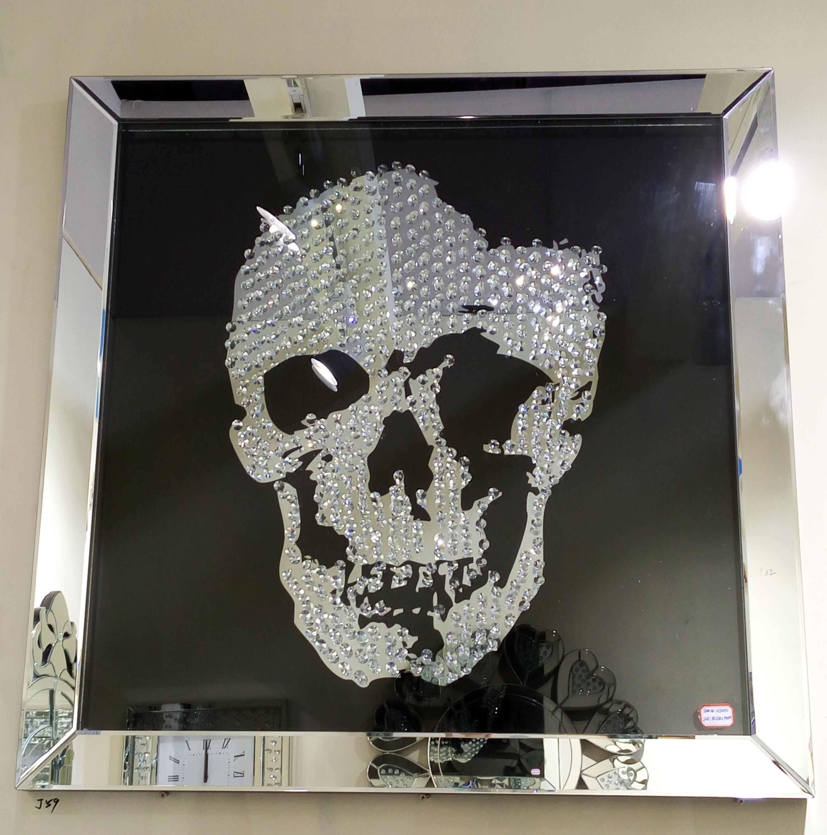 Crystal Mirror Wall Art Crystal Mirror Wall Art swarovski crystal skull wall art with a silver mirrored frame and 2888 X 2916