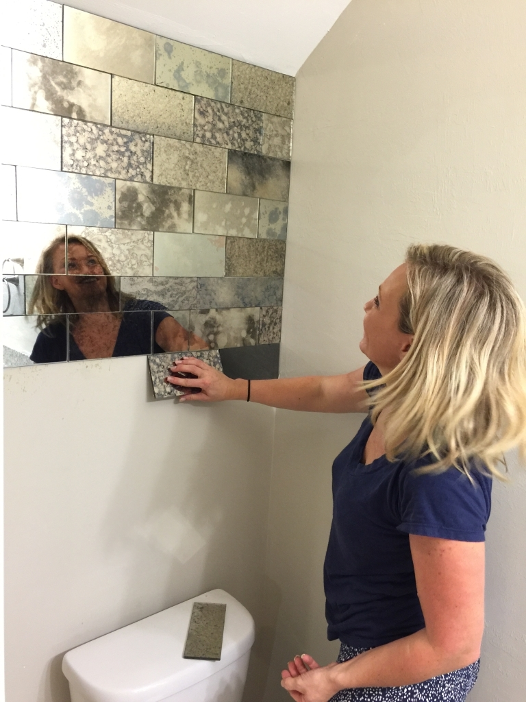 Cutting Mirror Tiles Bathroom