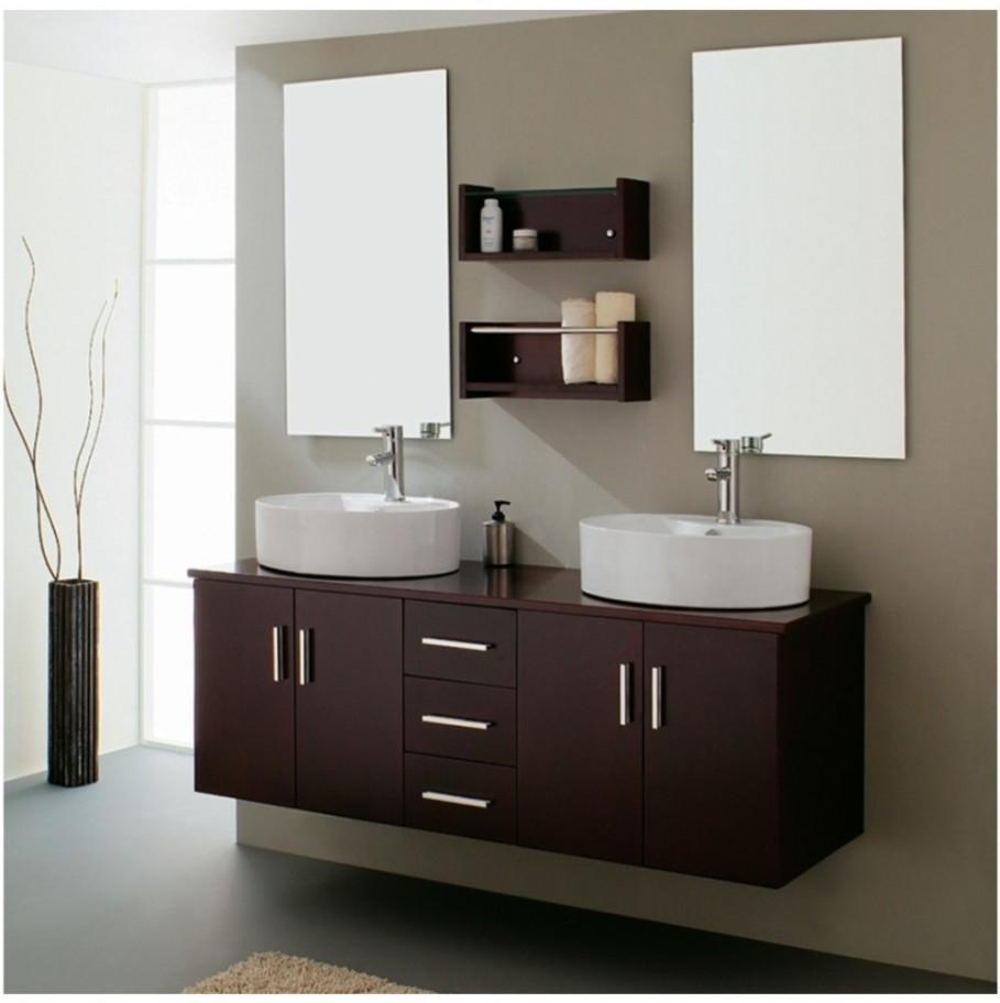 Dark Wood Bathroom Mirror Cabinet