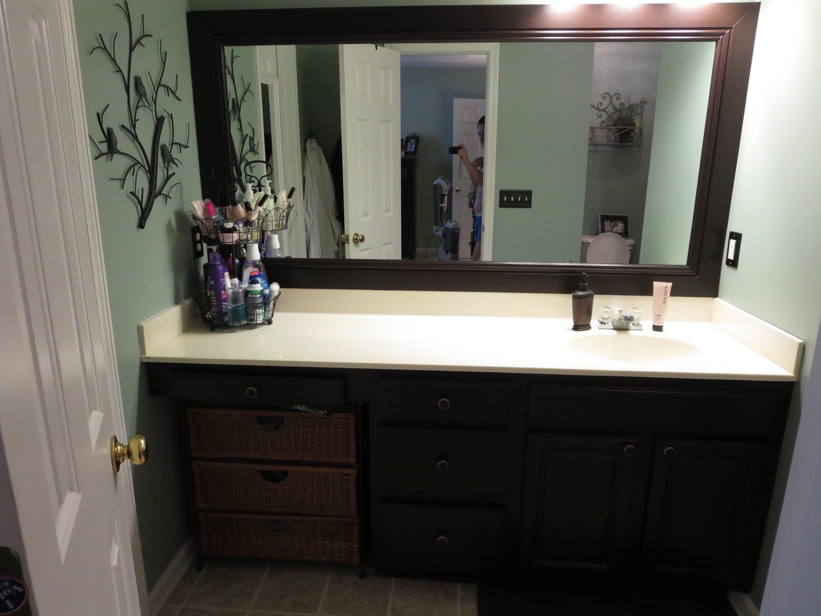 Dark Wood Framed Bathroom Mirrors