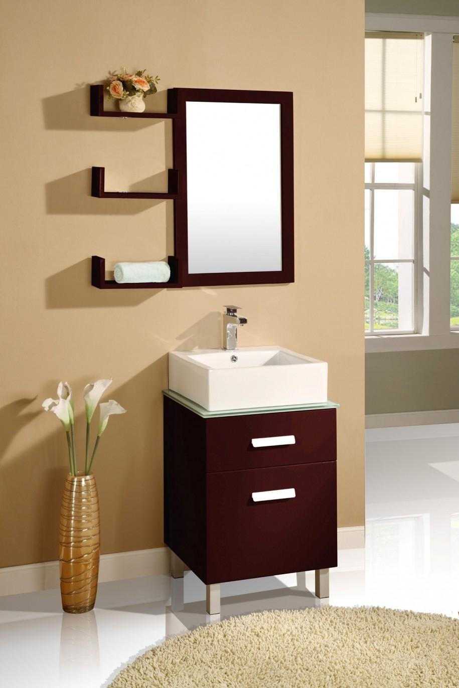 Dark Wood Mirror Bathroom Cabinet