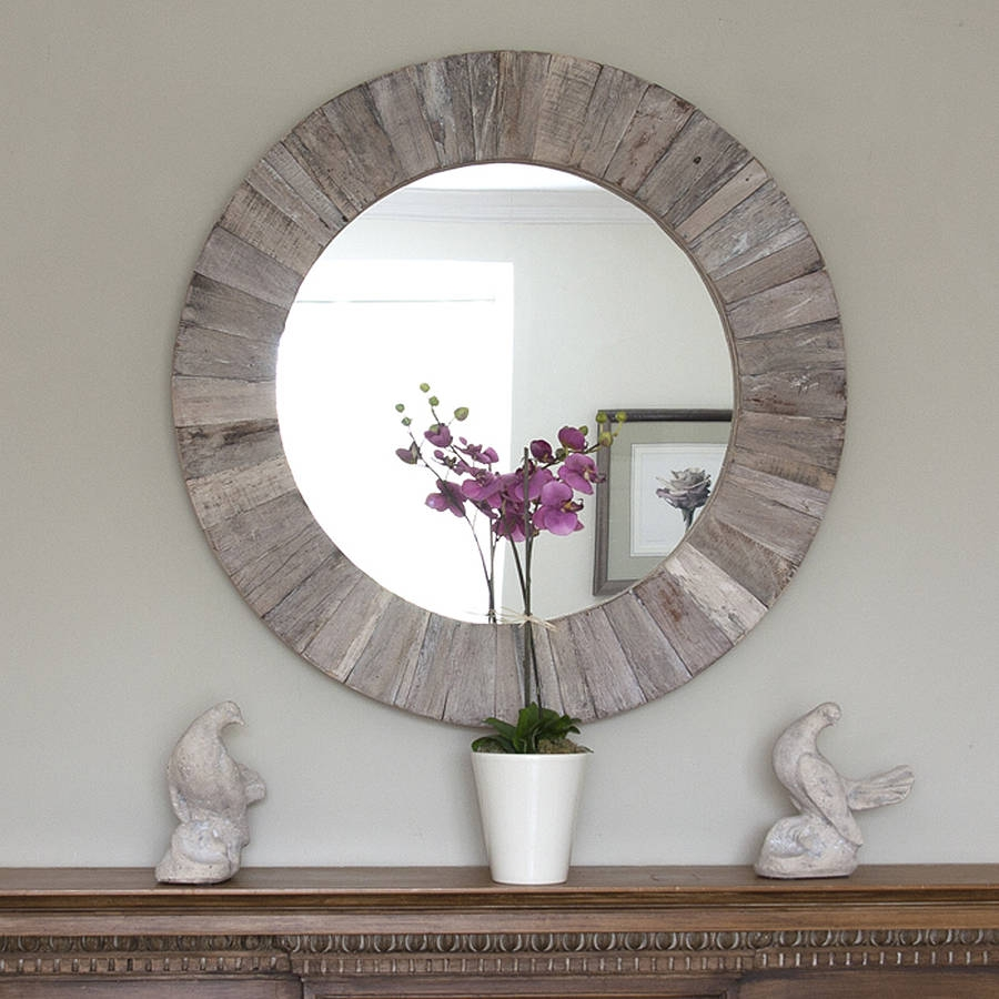 Decorative Round Wood Wall Mirror