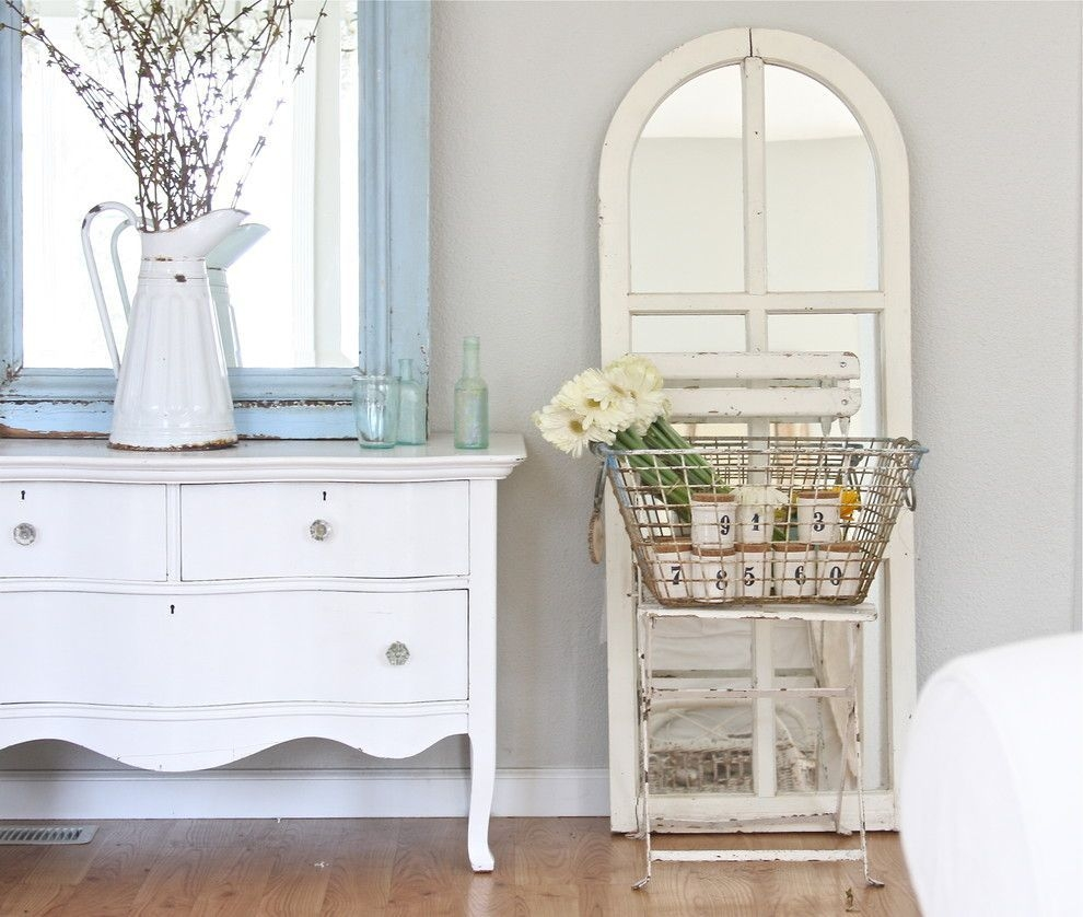 Distressed White Wood Wall Mirror