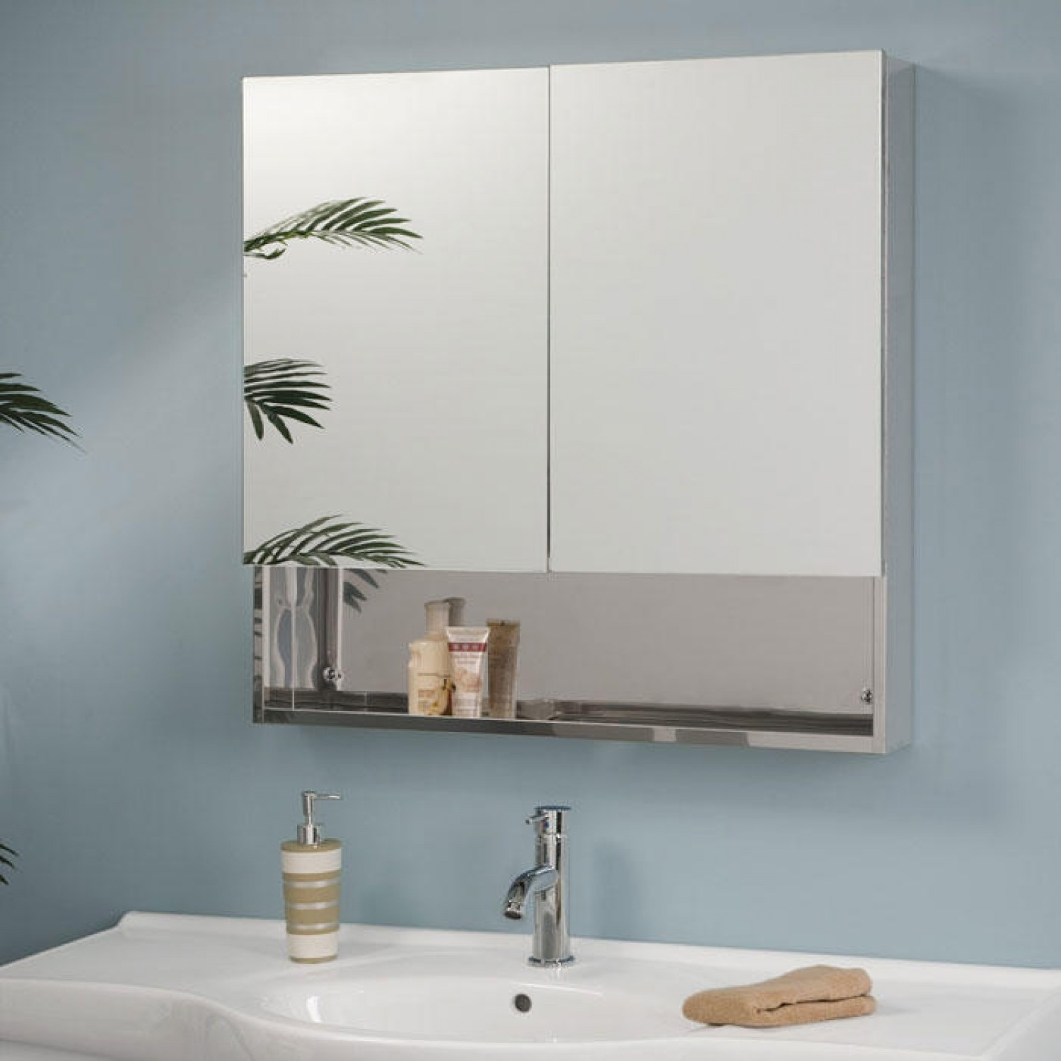 Double Door Mirrored Bathroom Cabinet
