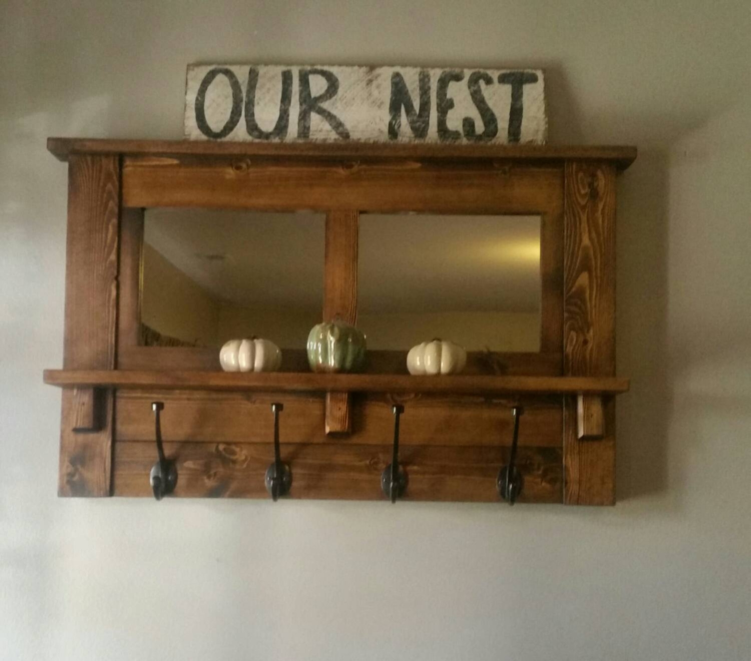 Entryway Wall Mirror Coat Rack