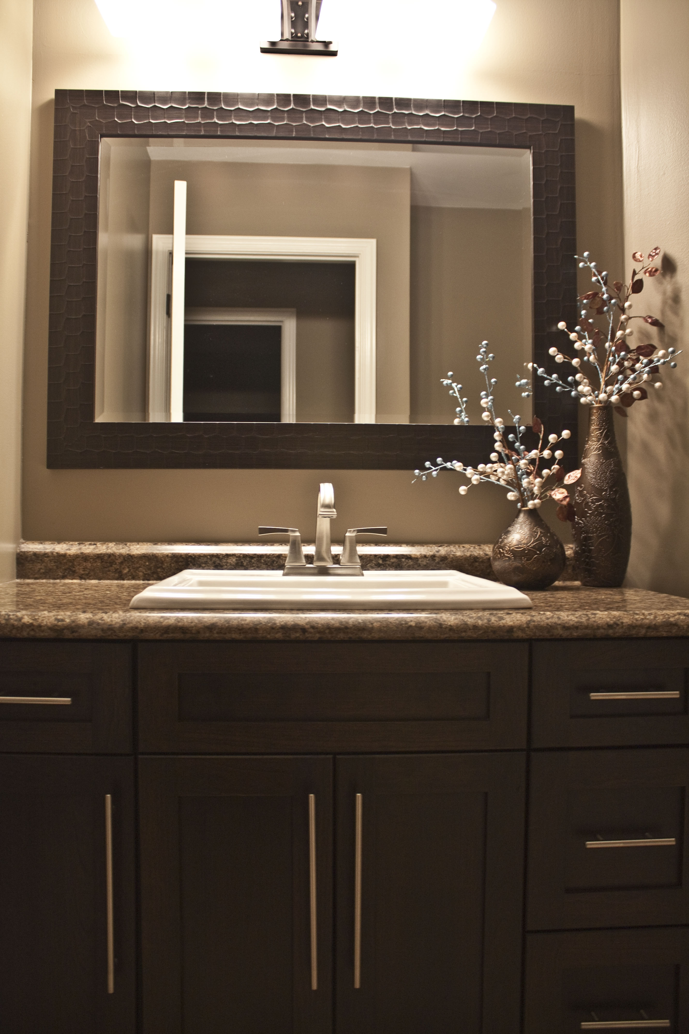 Espresso Framed Mirror Bathroom