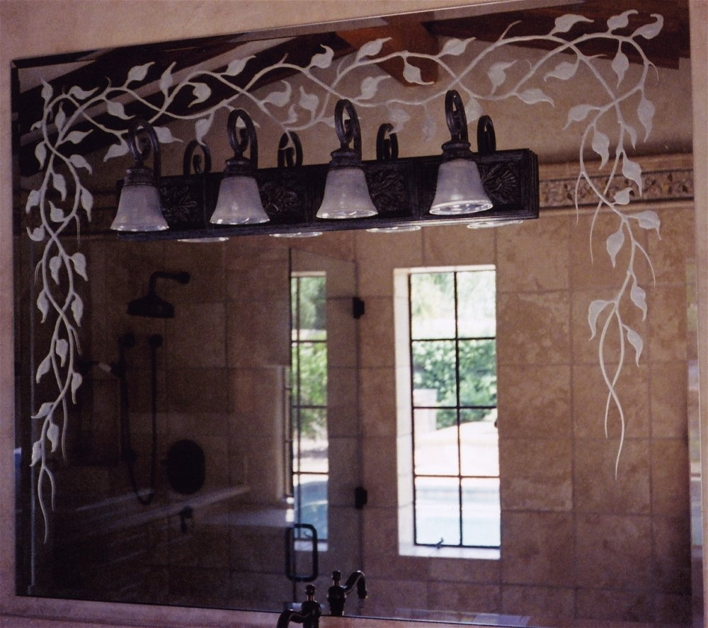 Etched Glass Bathroom Mirrors