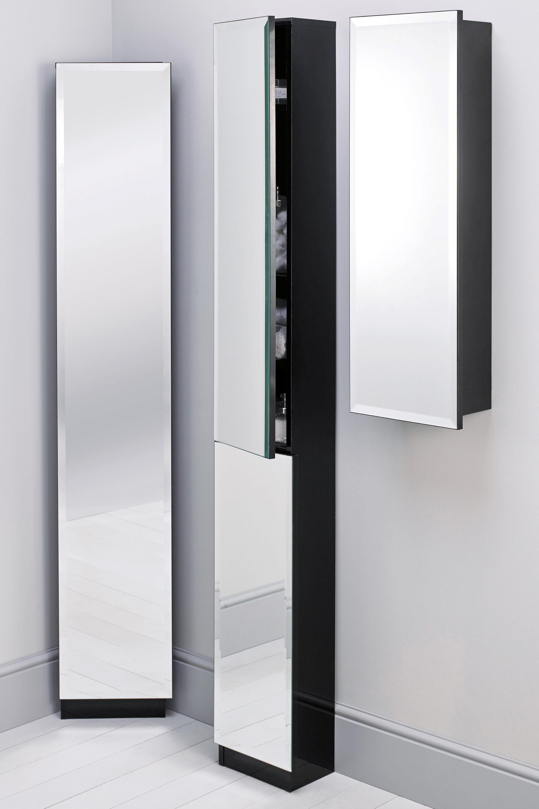 Floor Standing Mirrored Bathroom Cabinet