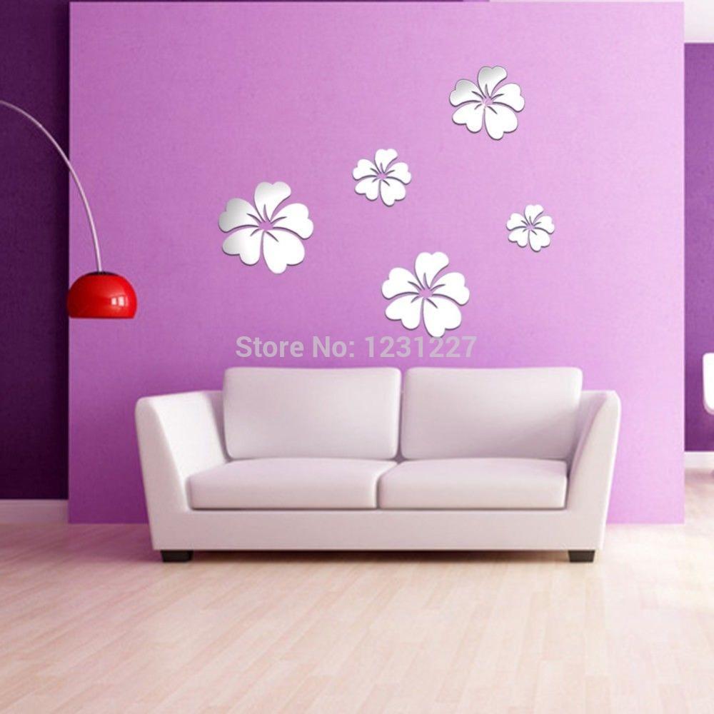 Flower Mirror Wall Stickers