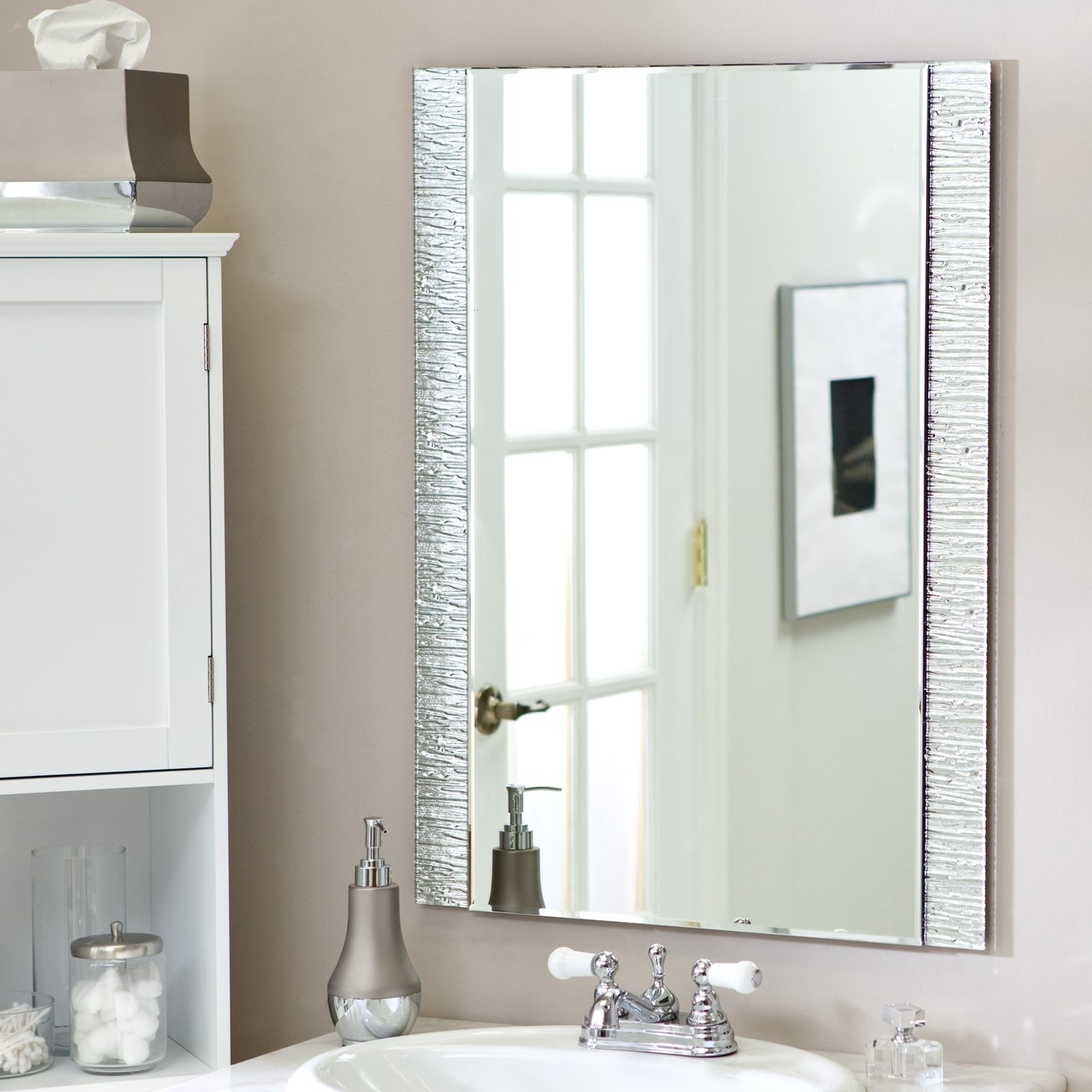 Frame Bathroom Mirror Without Gluehanging a large mirror without frame mirror without frame mirror