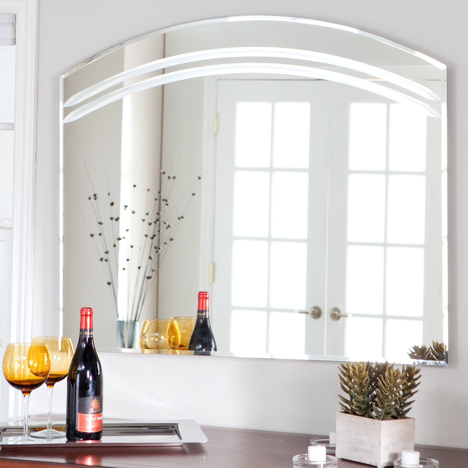 Frameless Arched Wall Mirror