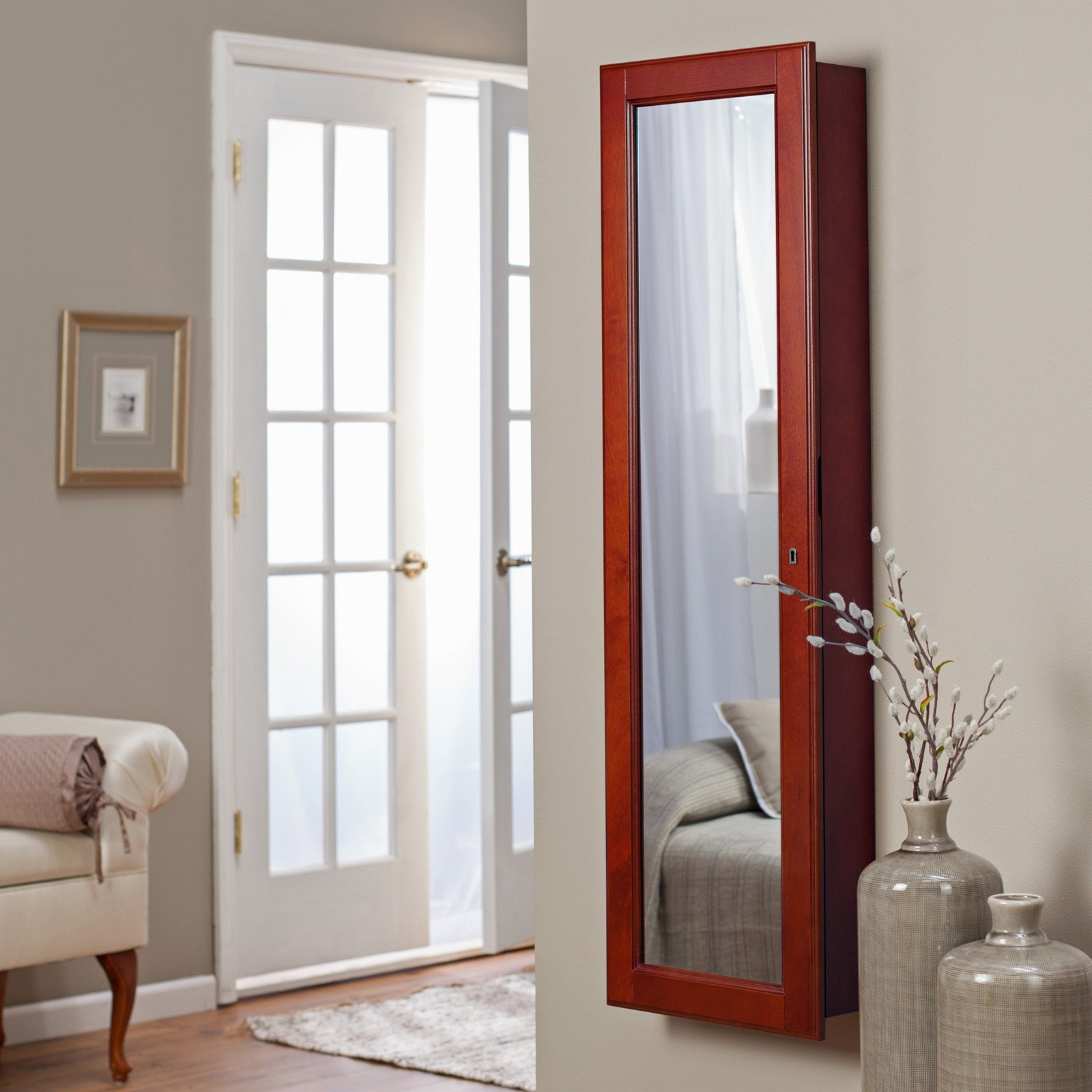Full Length Mirror Wall Mount Jewelry Armoire