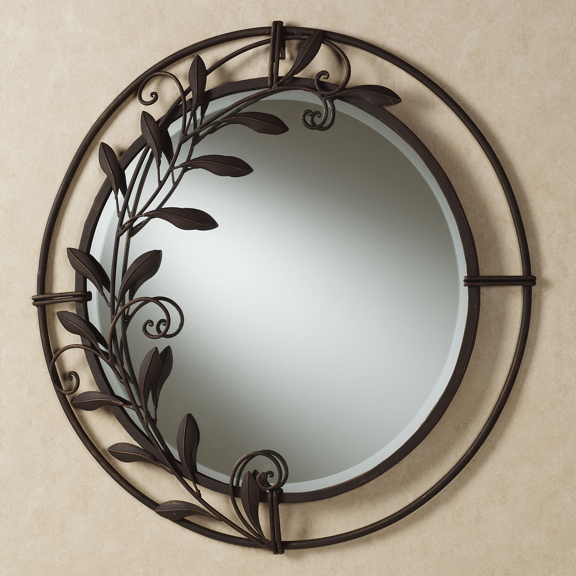 Galeazzo Antique Bronze Round Metal Wall Mirror