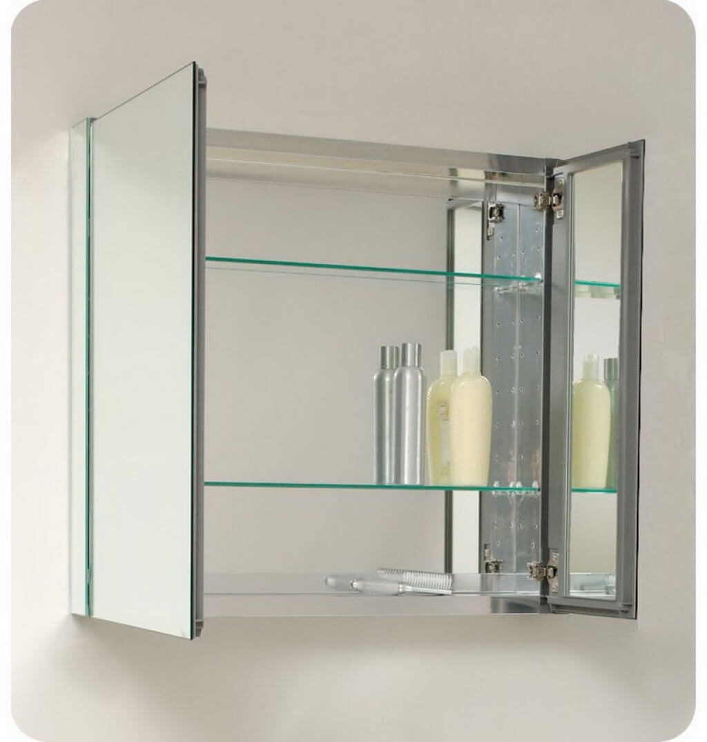 Glass Mirror Bathroom Cabinet
