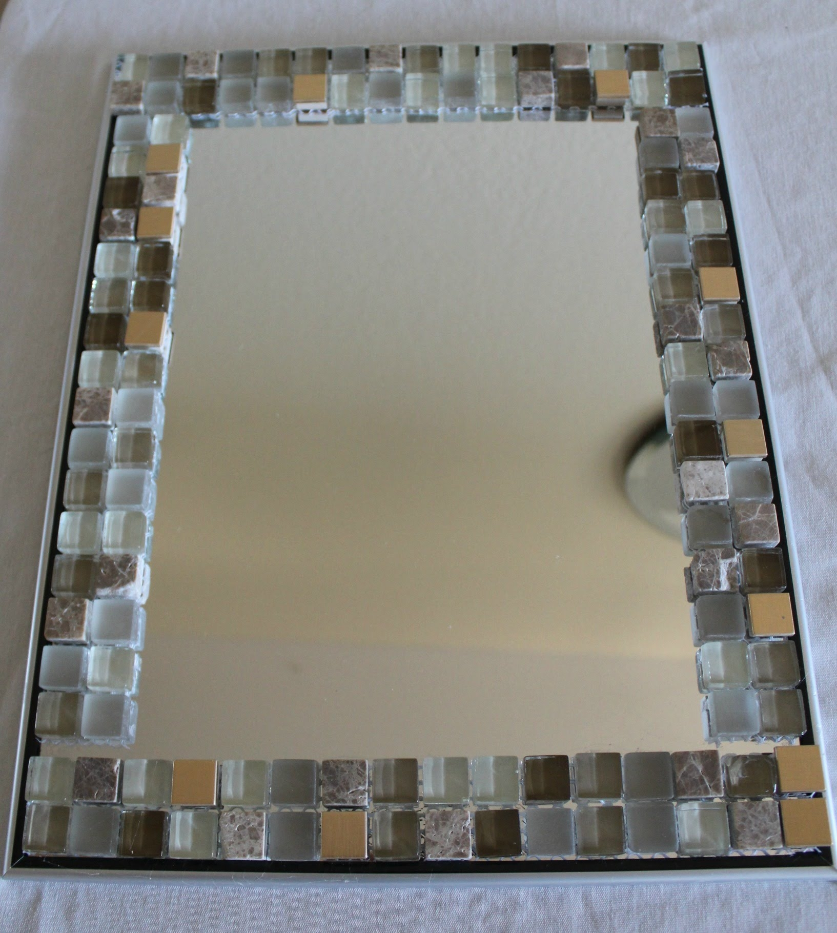 Glass Tile Framed Bathroom Mirror