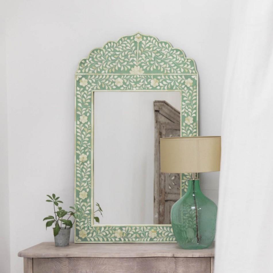 Green Framed Wall Mirror