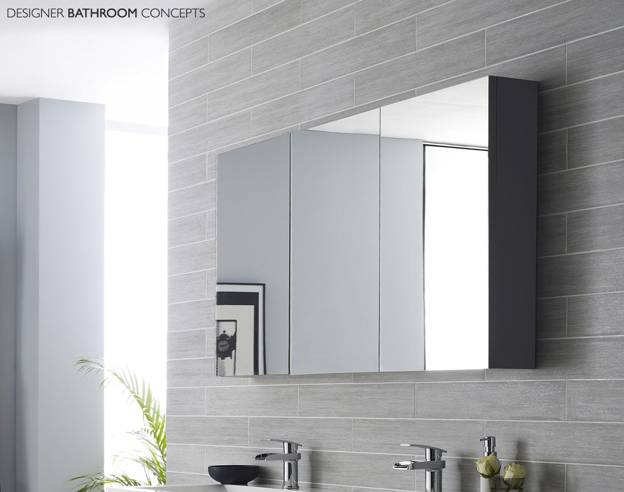 Grey Bathroom Mirror Cabinet