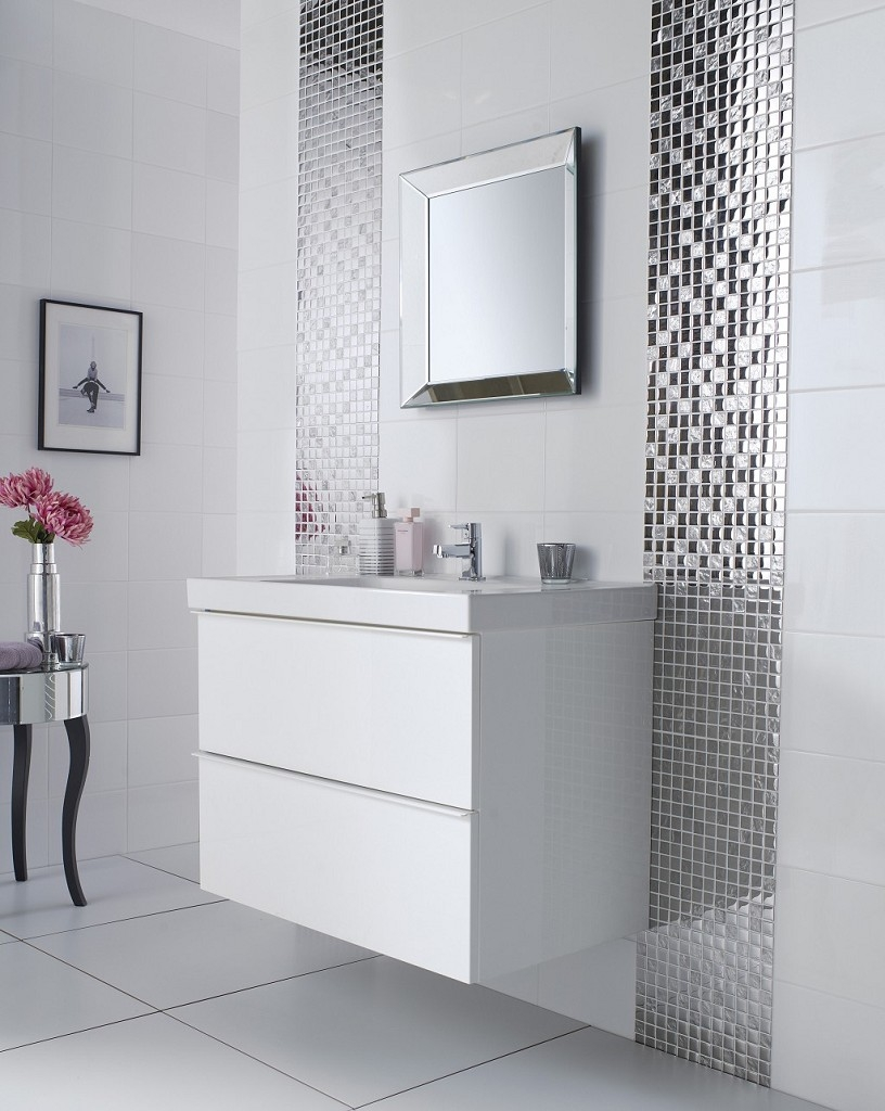 Grey Mosaic Bathroom Mirror