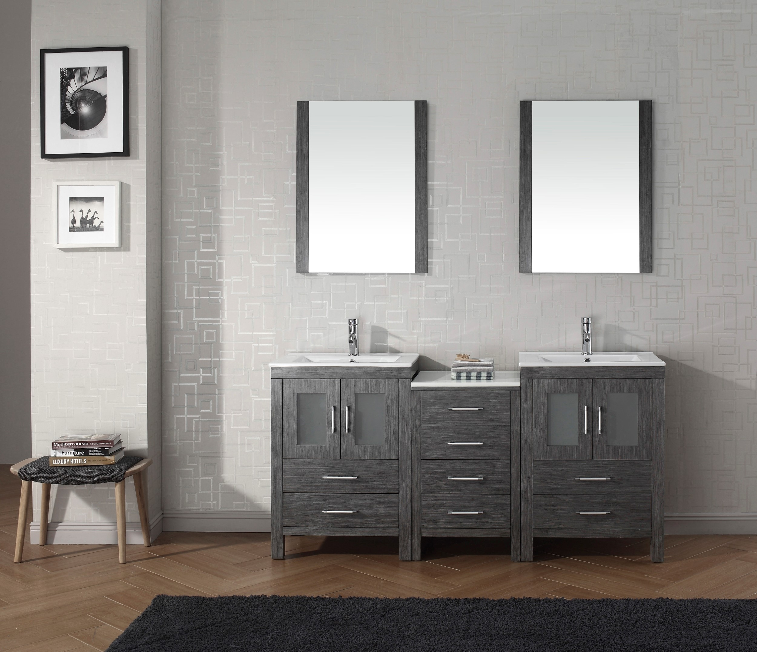 Grey Wood Bathroom Mirror