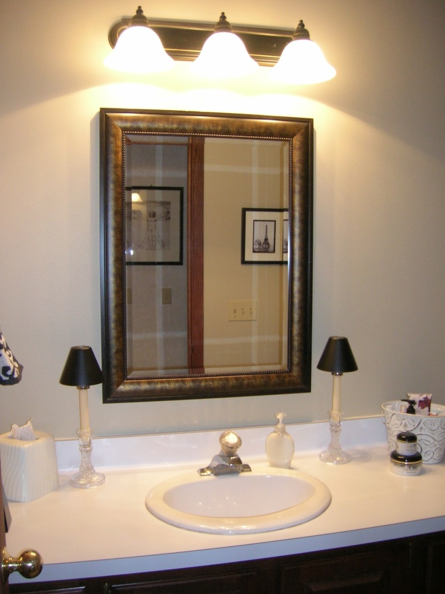 Hang Large Bathroom Mirrorbathroom customized white framed mirror hanging on creamy wall