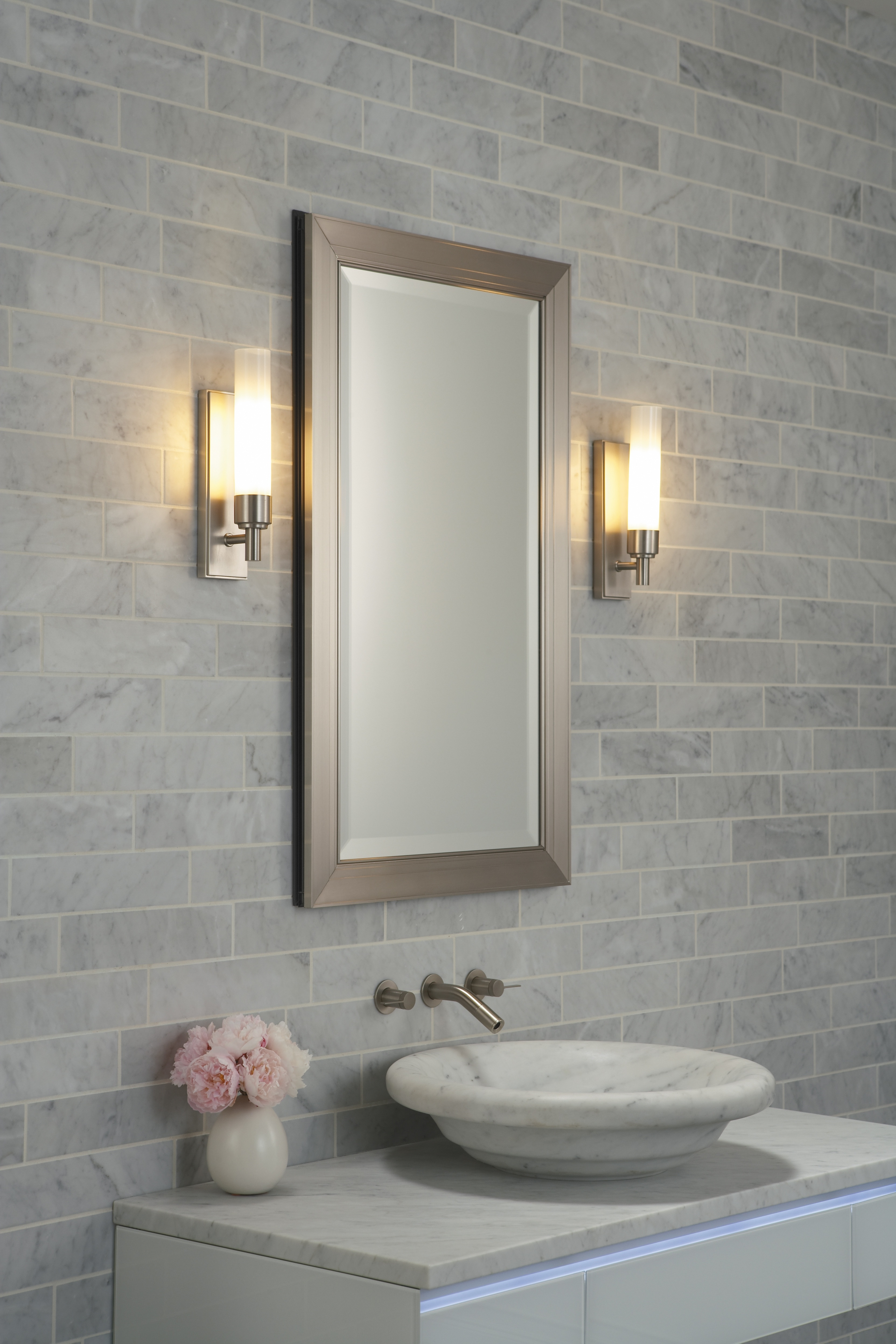 Hanging Mirror On Tile Wall