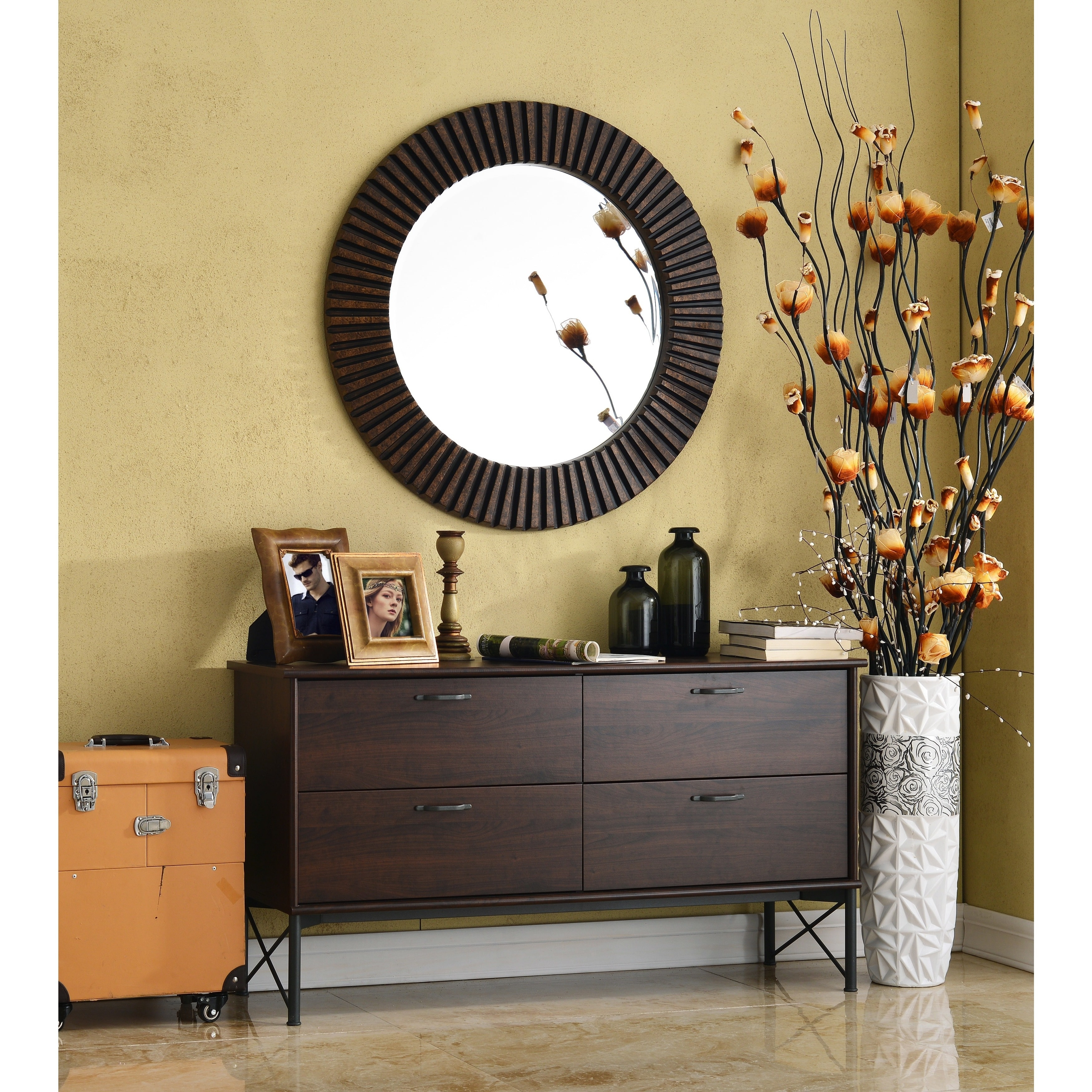 Hecate Bronze Wall Mirror Hecate Bronze Wall Mirror this hecate bronze beveled round decorative wall mirror makes a 3500 X 3500