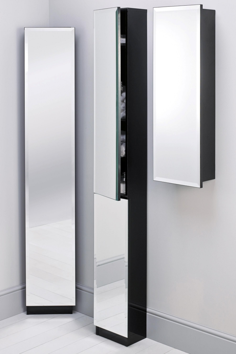 High Bathroom Cabinet With Mirror Door