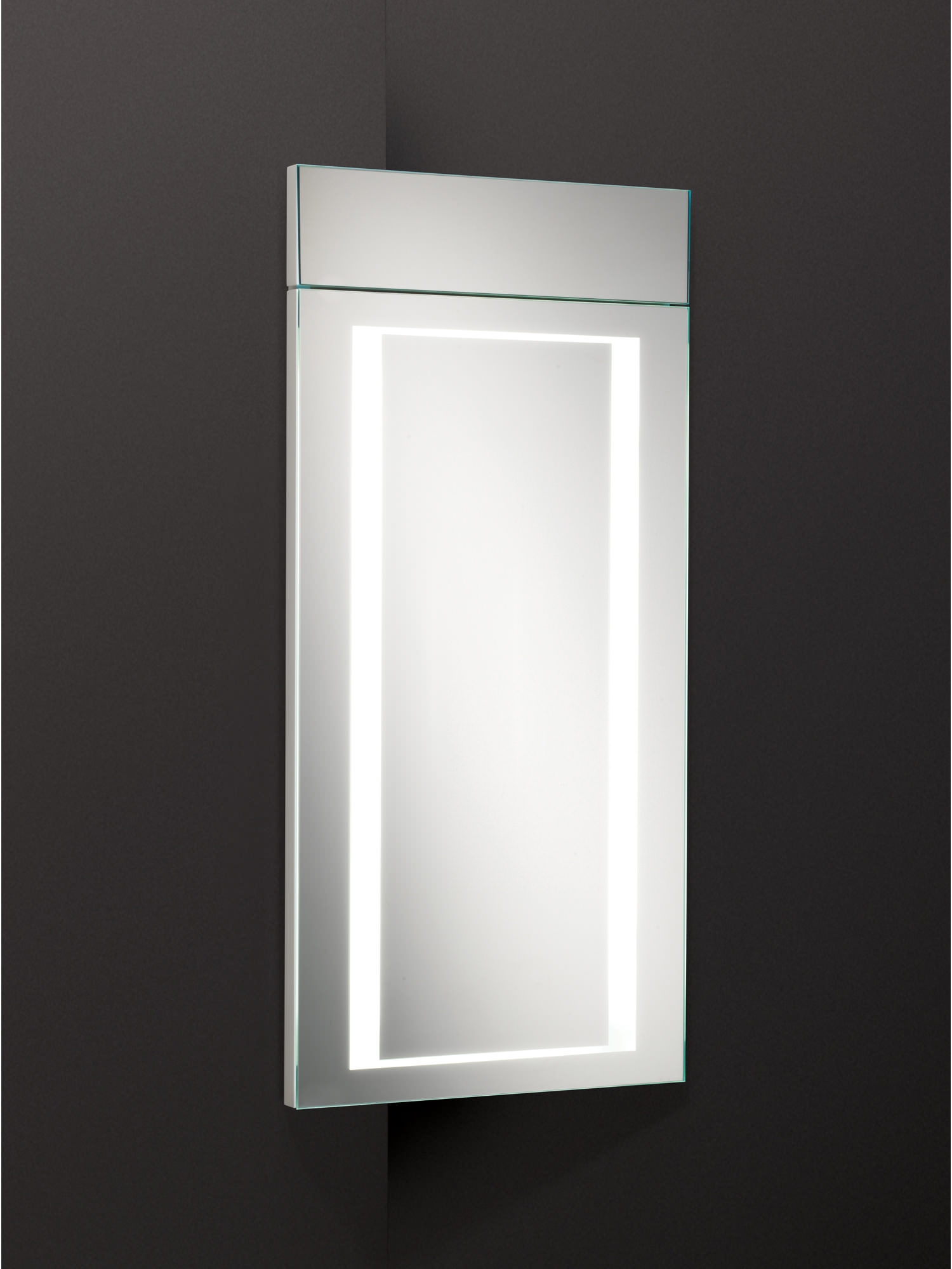 Illuminated Corner Bathroom Mirror Cabinet