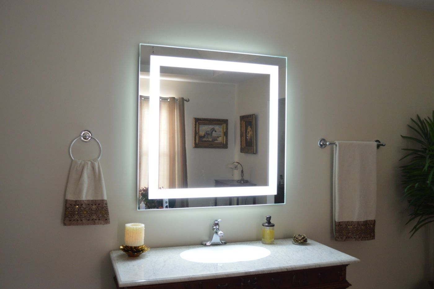 Illuminated Makeup Mirror Wall Mounted