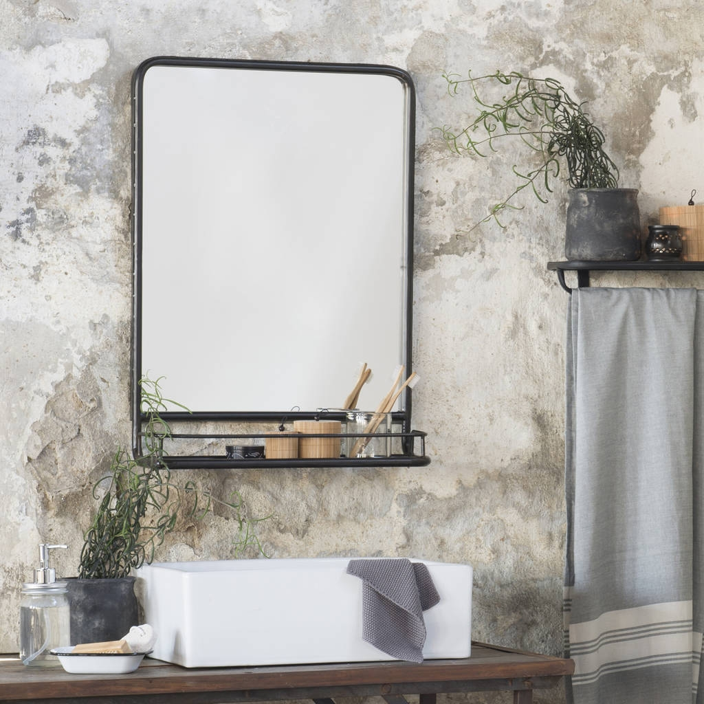 Industrial Bathroom Mirror With Shelf