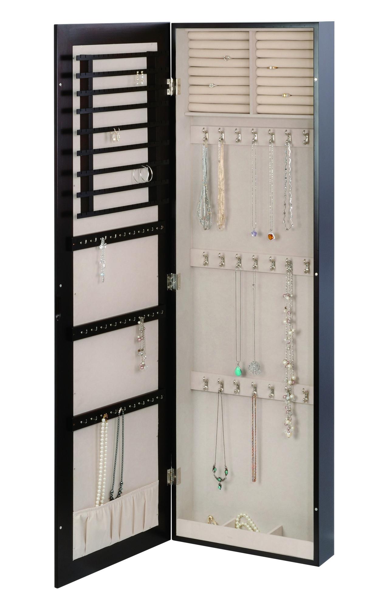 Kimberly Wall Mount Mirror Jewelry Storage