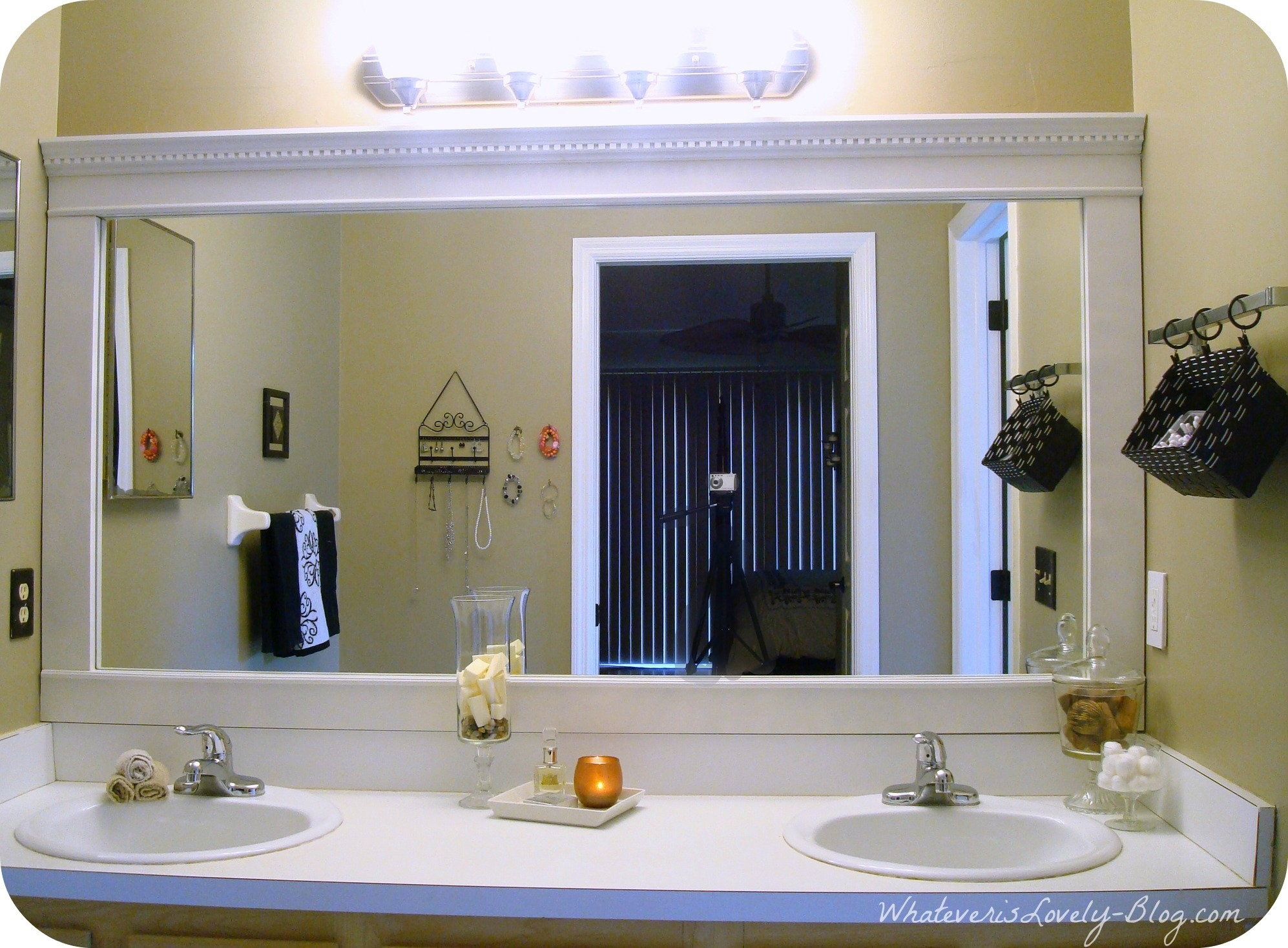 Large Bathroom Mirror White Frame