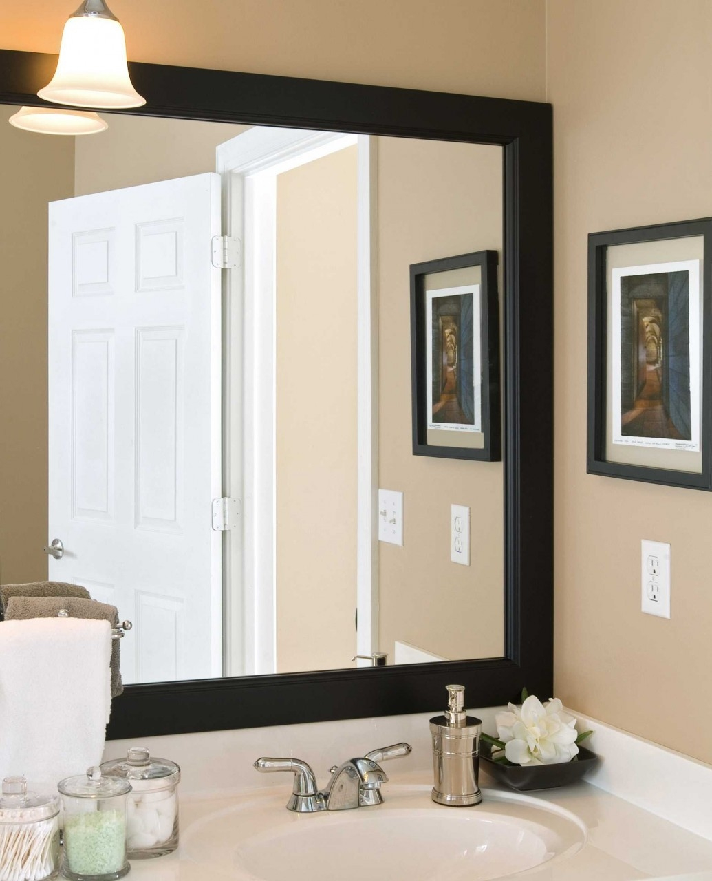 Large Bathroom Mirror With Black Frame